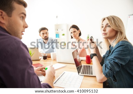 Talented creative team is working with inspiration - stock photo