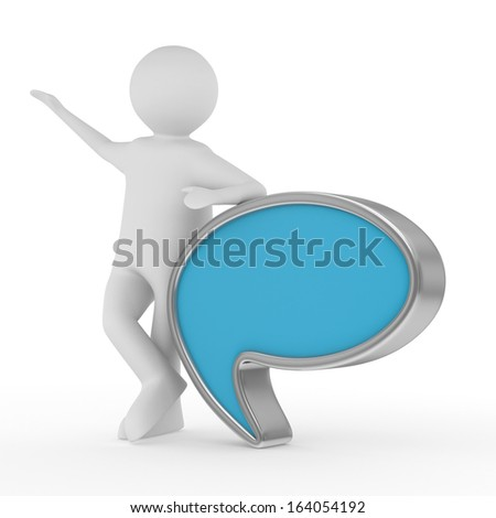 talk balloon on white background. Isolated 3D image - stock photo