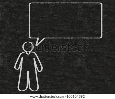 talk bubble blank with man written on blackboard background high resolution - stock photo