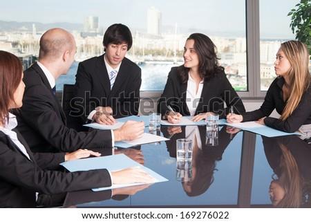 talk in board room - stock photo