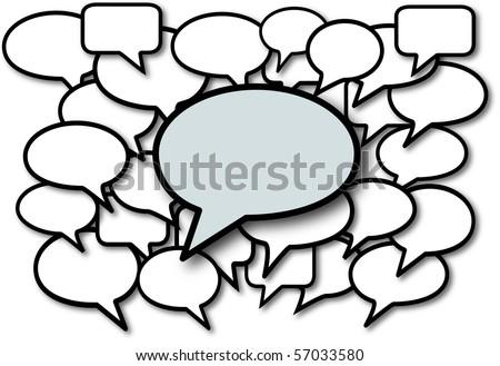 Talk in speech bubbles social media communication copyspace. - stock photo