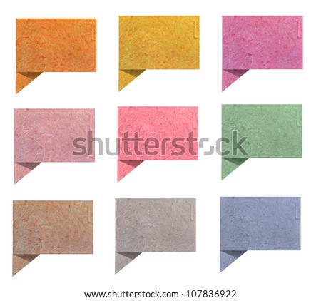 talk origami tag  paper craft stick on white background - stock photo
