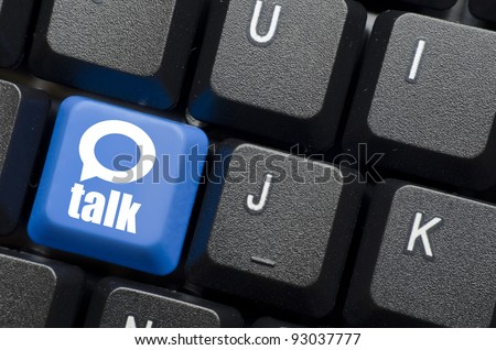 talk word with icon on blue keyboard button - stock photo