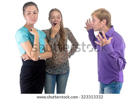 Talking man and two women on white background