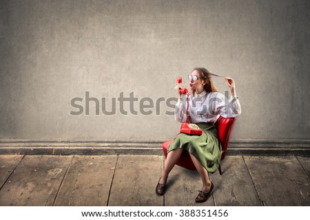 Talking on the phone - stock photo