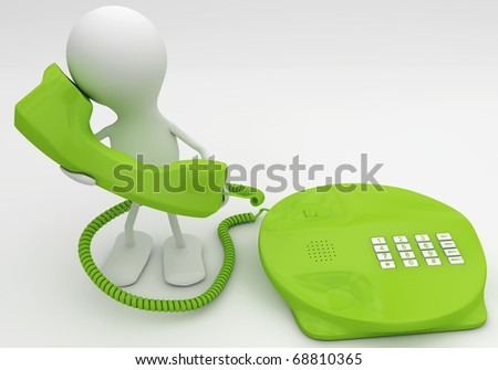 Talking on the phone. 3d render concept in green - stock photo