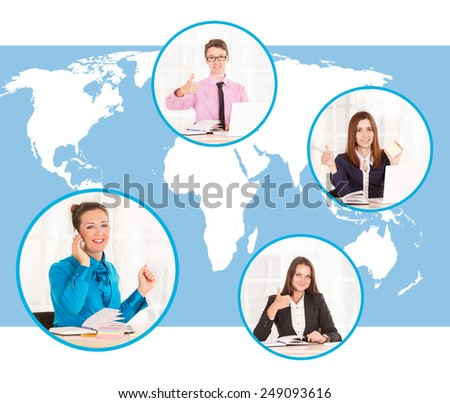 Talking on the phone with a client about the affairs of the business. Global communications world. Communication without distances. Customers around the world. Raised his thumb up. Customer agrees. - stock photo
