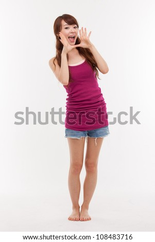 Talking pretty Asian young woman isolated on white background. - stock photo