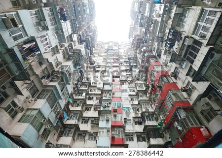 tall and dense apartment tower in Hong Kong