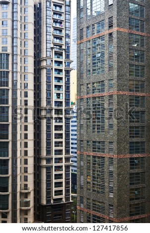 Tall apartment block in China. Architecture background - stock photo