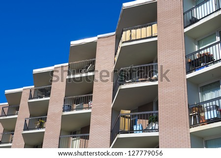 Tall apartment building in the city, Residential architecture - stock photo
