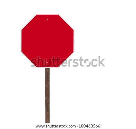 Tall blank isolated stop sign on a wooden post. - stock photo