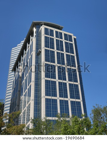 Tall Blue Building(Release Information: Editorial Use Only. Use of this image in advertising or for promotional purposes is prohibited.) - stock photo