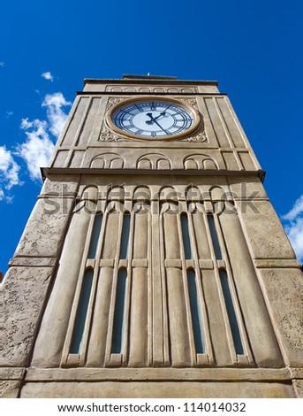 Tall british tower with clock - stock photo