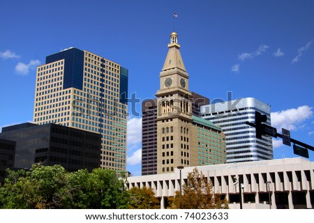 Tall buildings in Downtown Detroit against blue sky