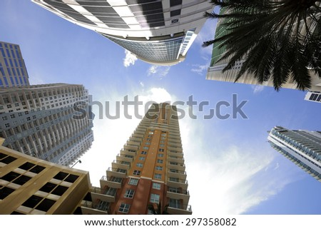Tall buildings in Miami - stock photo