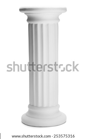 Tall Doric Column Pillar Isolated on White Background. - stock photo