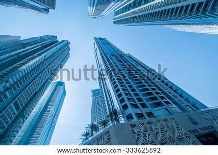 Tall Dubai Marina skyscrapers in UAE - stock photo