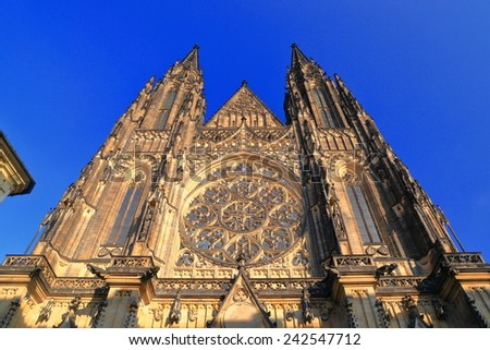 Tall facade with Gothic ornaments of St Vitus Cathedral, Prague castle, Czech Republic - stock photo