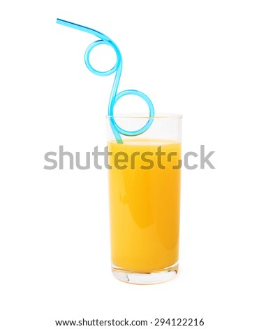 Tall glass filled with the orange juice and curved blue plastic drinking straw inside. composition isolated over the white background - stock photo