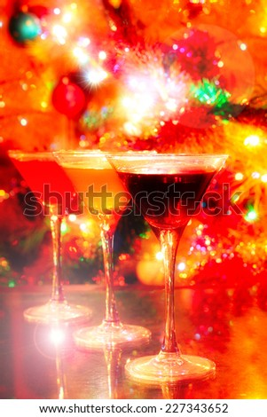 tall glass with drink on festive background