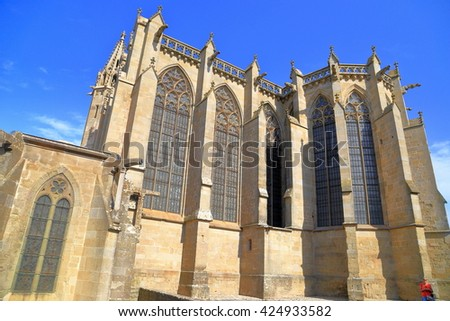 Tall Gothic building of Saint Nazaire Basilica, Carcassonne, Languedoc-Roussillon, France - stock photo