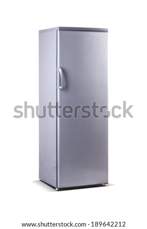 tall grey metallic freezer - stock photo