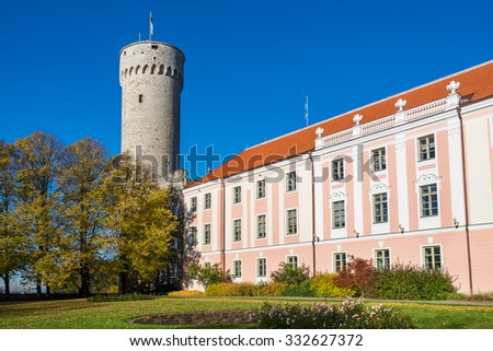 Tall Hermann tower and Parliament building. Toompea, Governors garden, Tallinn, Estonia