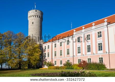 Tall Hermann tower and Parliament building. Toompea, Governors garden, Tallinn, Estonia - stock photo