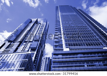 Tall High Rise Urban Office Building In Sydney, Australia - Blue Toning