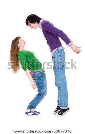 tall man and short woman. isolated on white background - stock photo