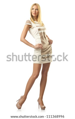 Tall model isolated on white
