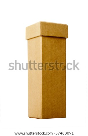 Tall narrow cardboard box with lid isolated over white background - stock photo