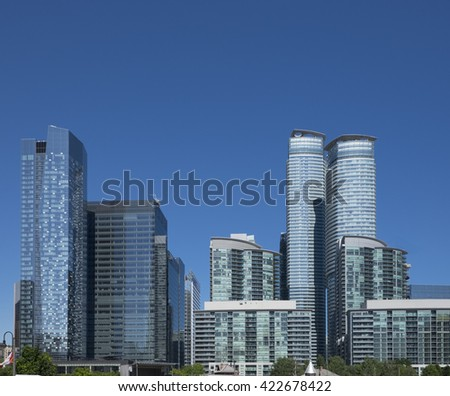 Tall office buildings and condominium residences in downtown Toronto Canada. - stock photo