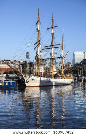 Tall Ship in Bristol Harbour UK - stock photo