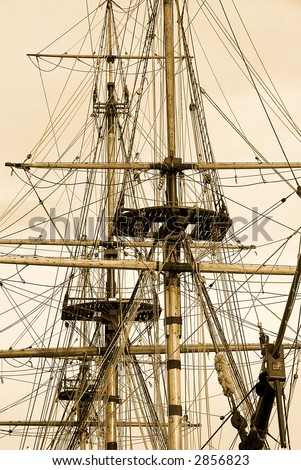 Tall Ship in sepia - stock photo