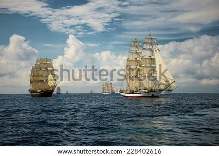 Tall ship regatta - stock photo