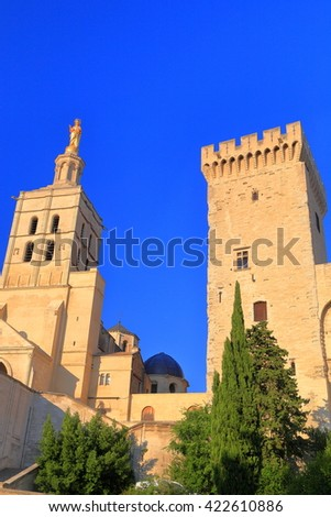 Tall towers of the Cathedral and Papal Palace (Palais des Papes) in Avignon, Provence, France - stock photo