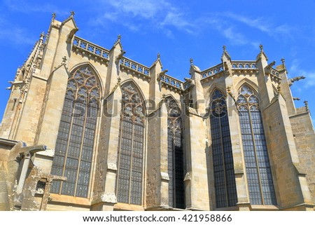 Tall windows of the Gothic church of Saint Nazaire Basilica, Carcassonne, Languedoc-Roussillon, France - stock photo