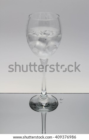 Tall Wine Glass with ice and cool water