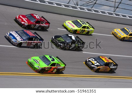 TALLADEGA, AL - APR 25:  Dale Earnhardt Jr. splits the pack for the running of the Aaron's 499 race at the Talladega Superspeedway on Apr 25, 2010 in Talladega, AL. - stock photo