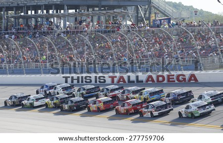 Talladega, AL - May 02, 2015:  The NASCAR Xfinity Series teams take to the track for the Winn-Dixie 300 at Talladega Superspeedway in Talladega, AL. - stock photo