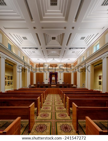 TALLAHASSEE, FLORIDA - DECEMBER 5: Florida Supreme Court chamber on December 5, 2014 in Tallahassee, Florida