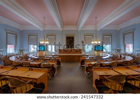 TALLAHASSEE, FLORIDA - DECEMBER 5: House of Representatives chamber in the Old Florida State Capitol on December 5, 2014 in Tallahassee, Florida - stock photo