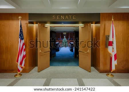 TALLAHASSEE, FLORIDA - DECEMBER 5: Senate chamber decorated for the holidays at the Florida State Capitol building on December 5, 2014 in Tallahassee, Florida - stock photo