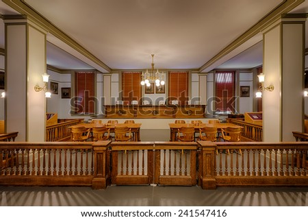 TALLAHASSEE, FLORIDA - DECEMBER 5: Supreme Court chamber in the Old Florida State Capitol on December 5, 2014 in Tallahassee, Florida - stock photo
