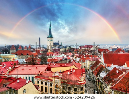 Tallin Aerial View of Old Town from Toompea Hill with rainbow, Estonia