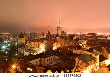 Tallinn city. Estonia. Winter panoram view - stock photo