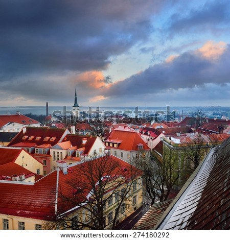 Tallinn city, Estonia. Winter panoram view by dusk - stock photo