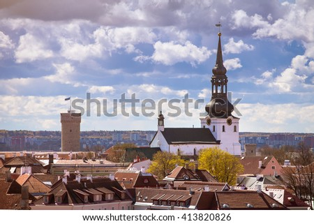 Tallinn Dome cathedral and one of the old town fortress towers - stock photo